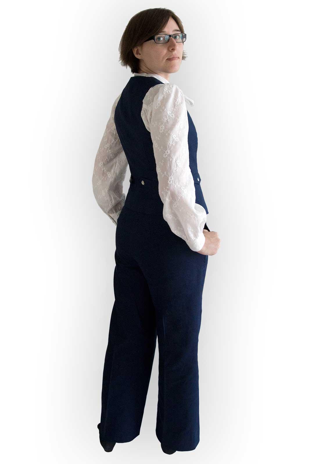 Dunkelblauer Leinen Baumwoll Anzug (3 teilig)